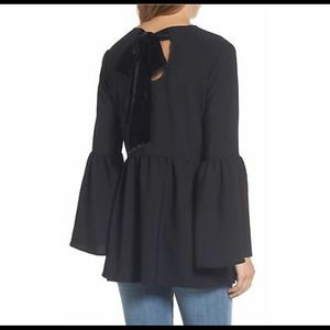 Halogen Black Velvet Bow Bell Sleeve top shirt
